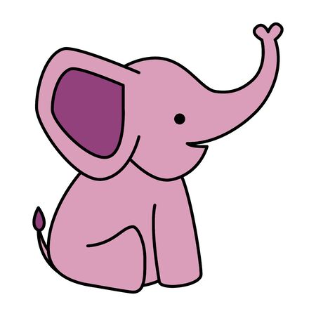 cute little elephant pink character vector illustration design