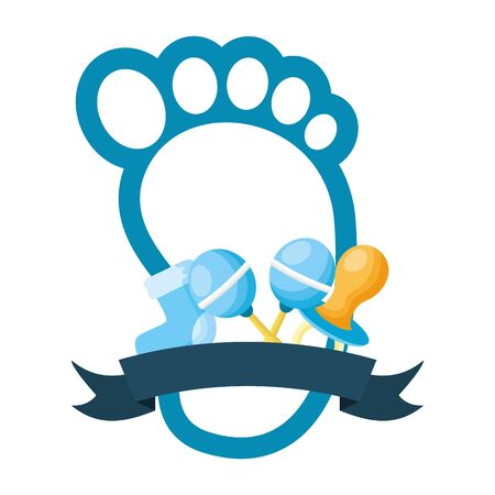 footprint pacifier rattle and sock boy decoration baby shower card vector illustration