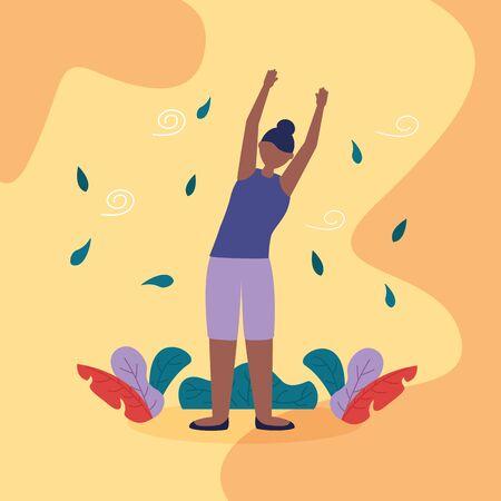 woman hands up yoga outdoor plants nature vector illustration Иллюстрация