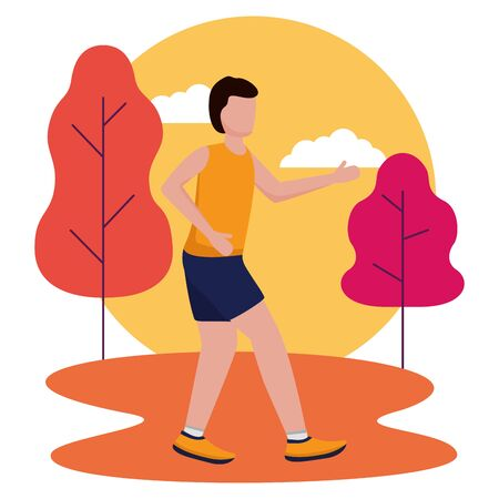 man running activity in the outdoors vector illustration