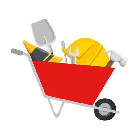 wheelbarrow construction with tools equipment vector illustration design Foto de archivo - 130007619