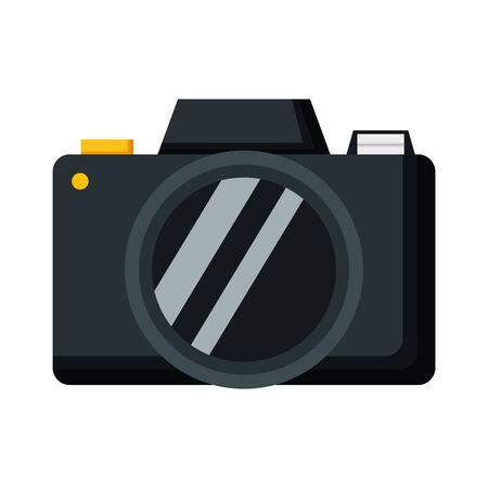 black photographic camera device icon on white background vector illustration Illusztráció