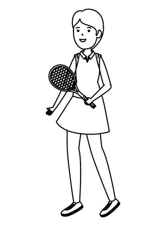 happy athletic girl with racket practicing tennis vector illustration design