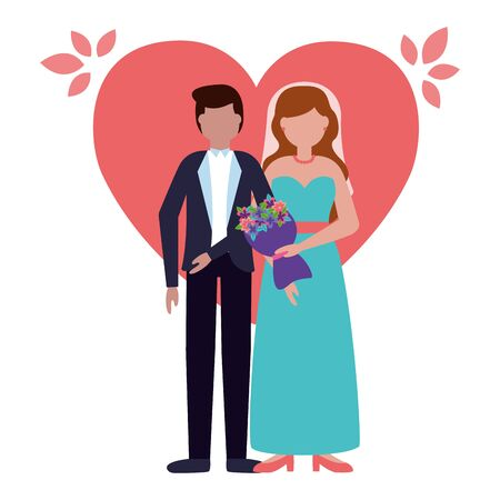 couples wedding bride and groom love heart vector illustration Фото со стока - 130074022
