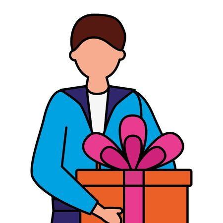 man holding gift box birthday vector illustration