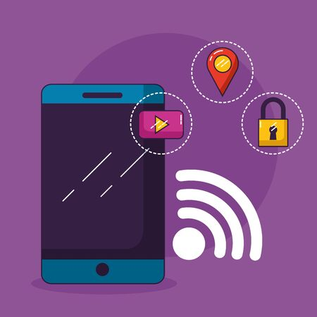 smartphone security navigation wifi free connection vector illustration