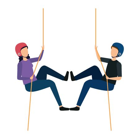young couple climbing with ropes characters vector illustration design 일러스트