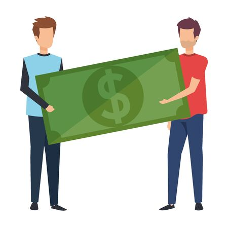 young men lifting bill money dollar characters vector illustration design