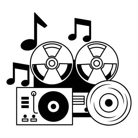 reel tape recorder turntable vinyl equipment festival music vector illustration