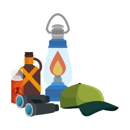 kerosene lantern with camping accessories vector illustration design Stock Illustratie