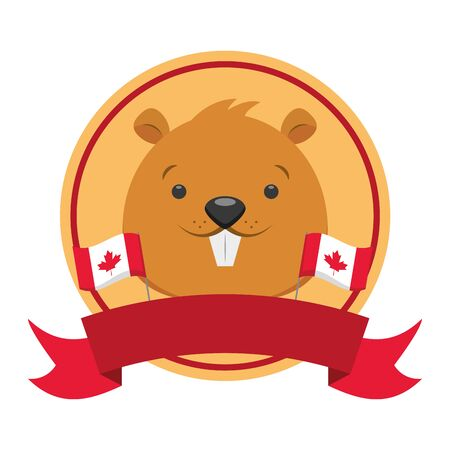 beaver happy canada day badge ribbon vector illustration Stock Illustratie