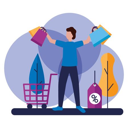 man shopping bag cart and tag discount commerce vector illustration