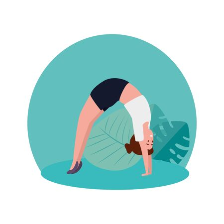 beauty woman practicing pilates in the camp vector illustration design