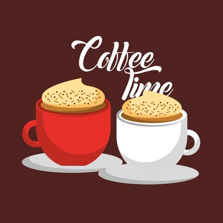 Coffee cups design, Drink breakfast beverage bakery restaurant and shop theme Vector illustration