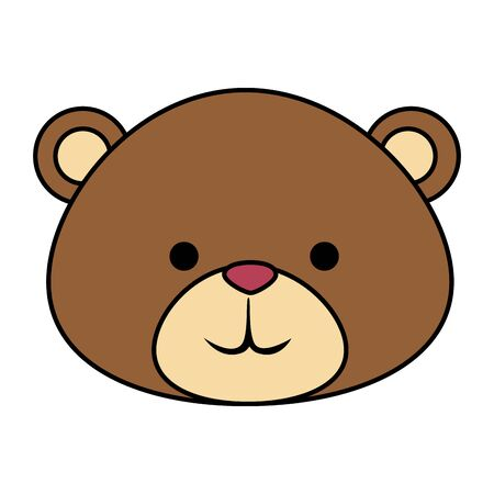 cutte little bear teddy head vector illustration design