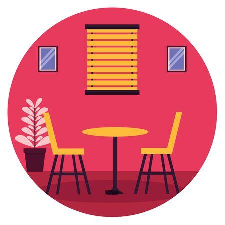 table chairs window plant pot furniture sticker vector illustration Vettoriali