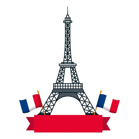 eiffel tower with flags of france happy bastille day flat design vector illustration Ilustração