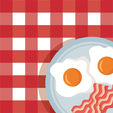 breakfast cooking fried eggs bacon tablecloth background vector illustration
