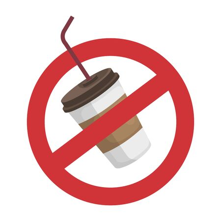plastic cup with straw in denied symbol vector illustration design