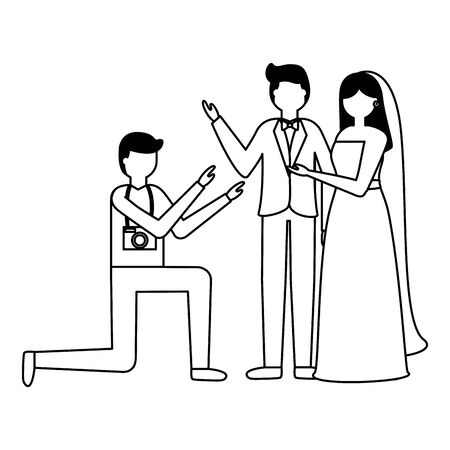 photographer taking a photo couple wedding vector illustration