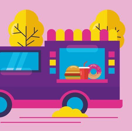 food truck outdoor service hamburger soda vector illustration