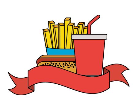 fast food hot dog soda french fries vector illustration