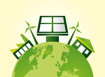 eco friendly world windmills solar panel vector illustration Archivio Fotografico - 130074286