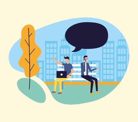 men with laptop and smartphone on bench park city talking bubble vector illustration Stok Fotoğraf - 130074290