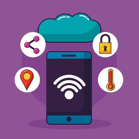 smartphone cloud computing wifi free connection vector illustration