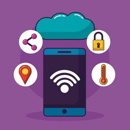 smartphone cloud computing wifi free connection vector illustration Stok Fotoğraf - 130074291
