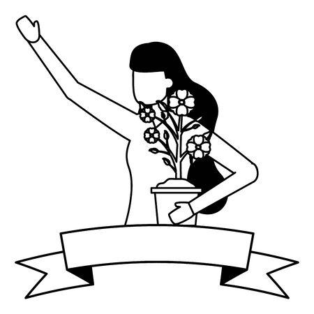 gardener woman with flower in pot work gardening vector illustration
