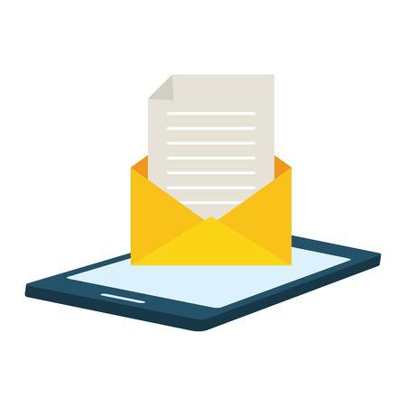 smartphone open envelope send email vector illustration