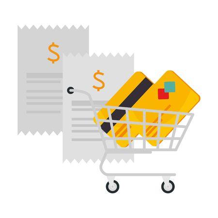 credit card in shopping cart vector illustration design  イラスト・ベクター素材