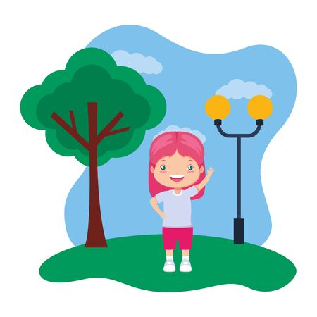 happy girl waving hand in the park vector illustration