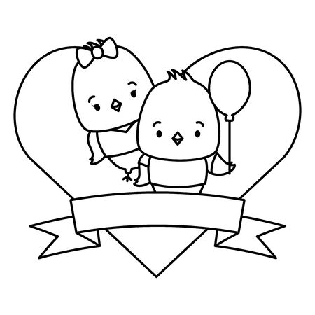 cute couple chicks animals heart love ribbon vector illustration Ilustracja