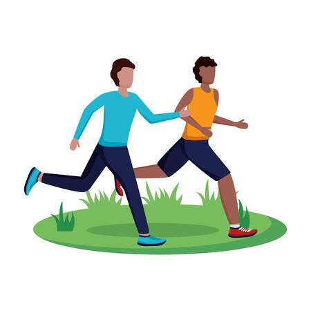 two men practicing running activity vector illustration
