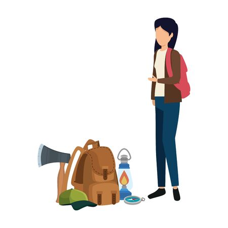 young woman with camping travel bag and equipment vector illustration design