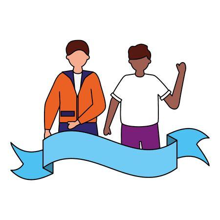 celebrating men young happy characters ribbon vector illustration Ilustração