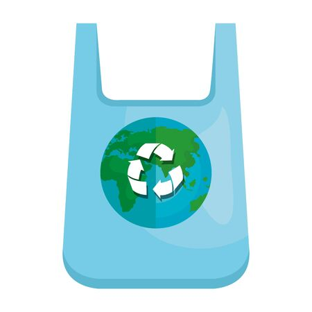 plastic bag with world planet and recycle arrows vector illustration design
