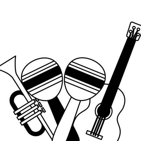 guitar maracas and trumpet festival music vector illustration Иллюстрация