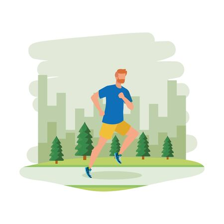 junger athletischer Mann, der im Landschaftsvektorillustrationsdesign läuft