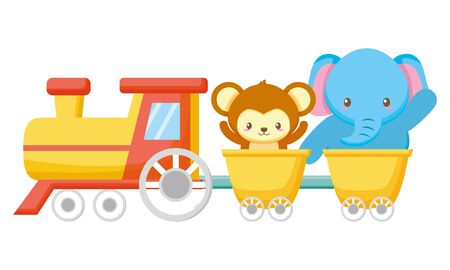cute little monkey and elephant in train vector illustration design  イラスト・ベクター素材