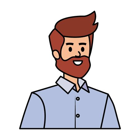 adult father with beard character vector illustration design