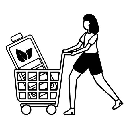 woman with battery in cart eco friendly environment vector illustration Ilustração