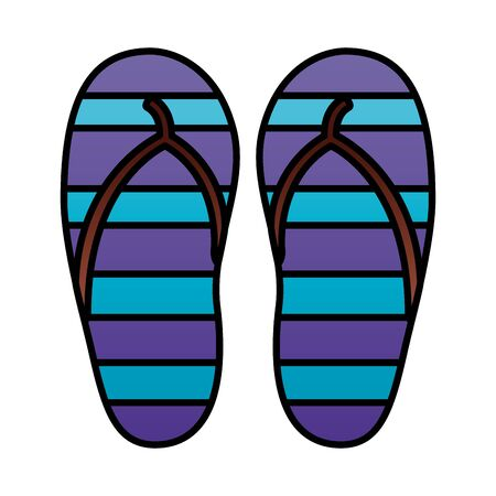 rubber flip flops accessory on white background vector illustration