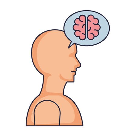 humanoid profile with speech bubble and brain vector illustration