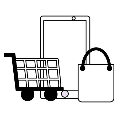 smartphone shopping cart and bag vector illustration