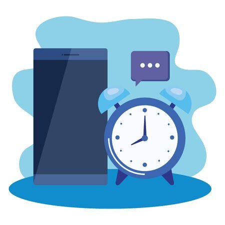 alarm clock with smartphone device vector illustration design