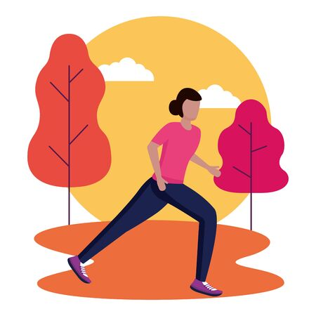 woman running activity in the outdoors vector illustration Imagens - 129942869