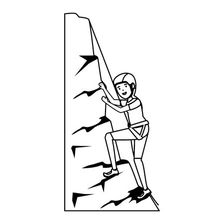 woman climbing with rope character vector illustration design
